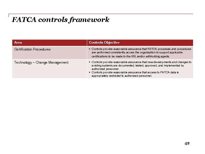 FATCA controls framework Area Controls Objective Certification Procedures • Controls provide reasonable assurance that