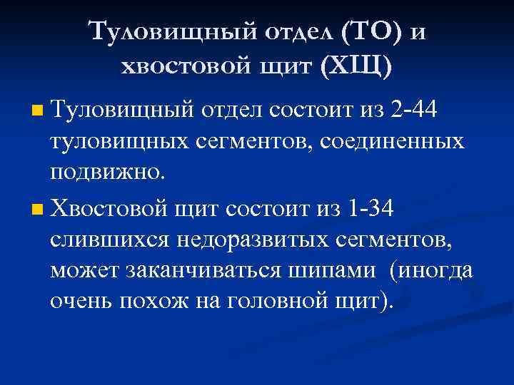 Туловищный отдел (ТО) и хвостовой щит (ХЩ) Туловищный отдел состоит из 2 -44 туловищных