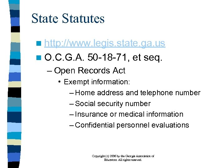 State Statutes n http: //www. legis. state. ga. us n O. C. G. A.