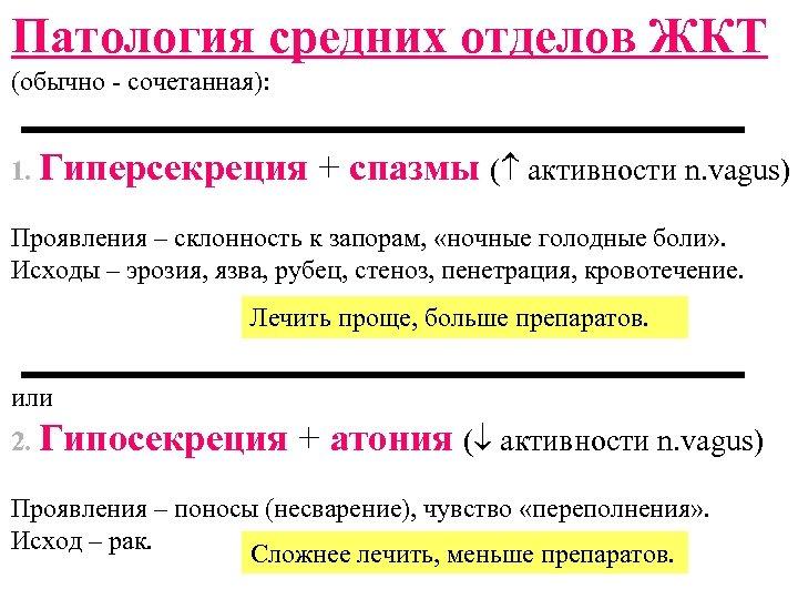 Патология средних отделов ЖКТ (обычно - сочетанная): 1. Гиперсекреция + спазмы ( активности n.