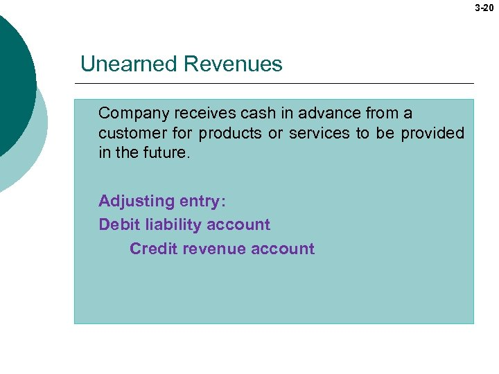 3 -20 Unearned Revenues Company receives cash in advance from a customer for products