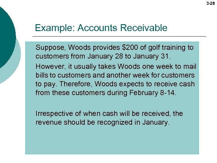 3 -28 Example: Accounts Receivable Suppose, Woods provides $200 of golf training to customers