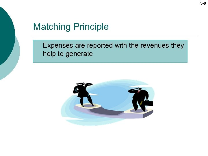 3 -8 Matching Principle Expenses are reported with the revenues they help to generate