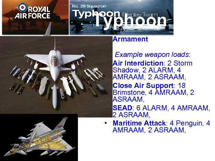 Typhoon Armament Example weapon loads: • Air Interdiction: 2 Storm Shadow, 2 ALARM, 4