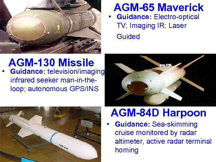 AGM-65 Maverick • Guidance: Electro-optical TV; Imaging IR; Laser Guided AGM-130 Missile • Guidance: