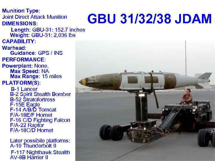Munition Type: Joint Direct Attack Munition DIMENSIONS: Length: GBU-31: 152. 7 inches Weight: GBU-31: