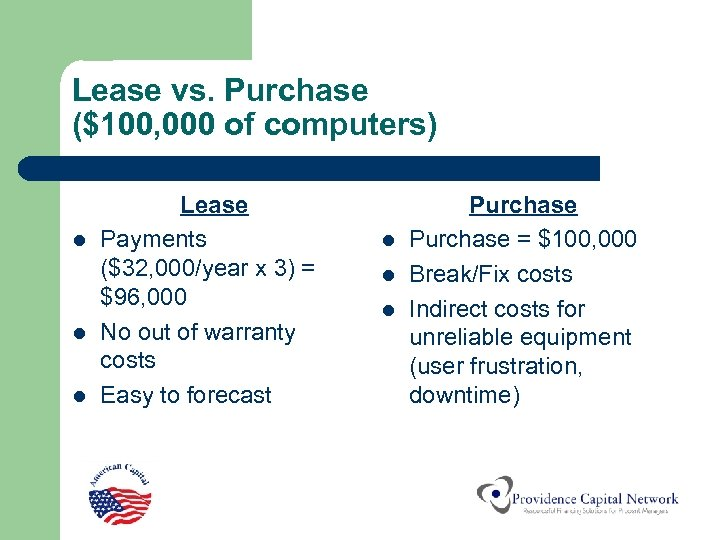 Lease vs. Purchase ($100, 000 of computers) l l l Lease Payments ($32, 000/year
