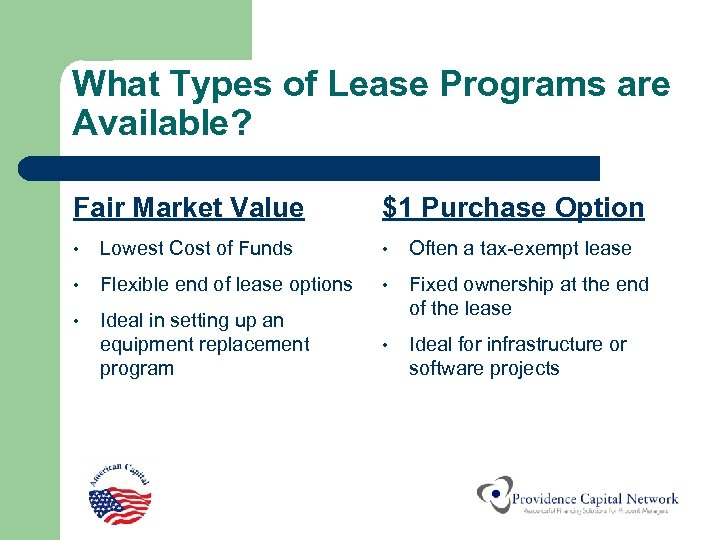What Types of Lease Programs are Available? Fair Market Value $1 Purchase Option •