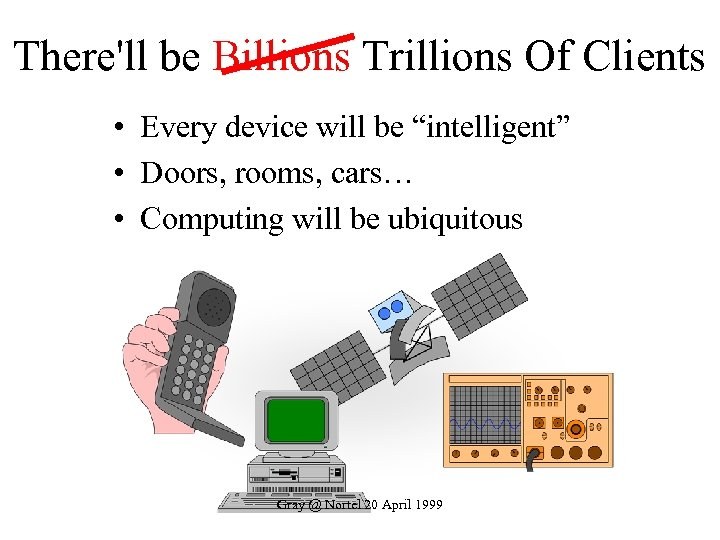 "There'll be Billions Trillions Of Clients • Every device will be ""intelligent"" • Doors,"