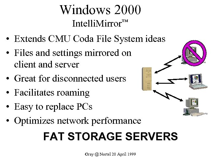 Windows 2000 Intelli. Mirror™ • Extends CMU Coda File System ideas • Files and