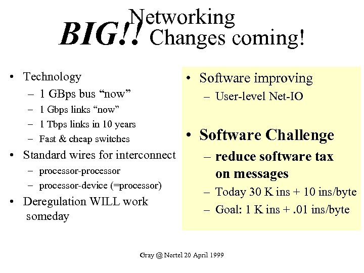 "Networking BIG!! Changes coming! • Technology – 1 GBps bus ""now"" • Software improving"