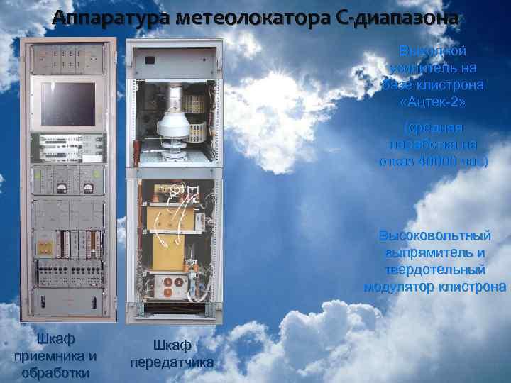 Аппаратура метеолокатора С-диапазона Выходной усилитель на базе клистрона «Ацтек-2» (средняя наработка на отказ 40000