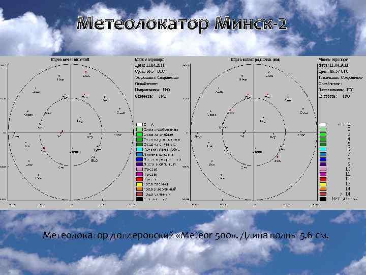 Метеолокатор Минск-2 Радиолокационная карта метеоявлений Радиолокационная карта верхней границы облачности Метеолокатор доплеровский «Мeteor 500»