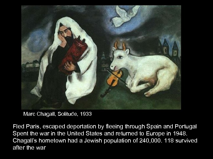 Marc Chagall, Solitude, 1933 Fled Paris, escaped deportation by fleeing through Spain and Portugal