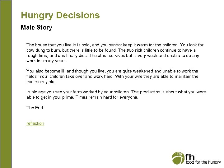 Hungry Decisions Male Story The house that you live in is cold, and you