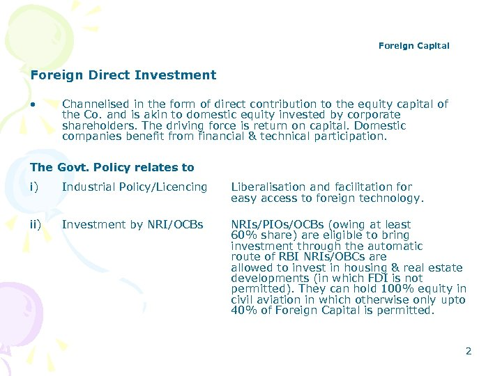 Foreign Capital Foreign Direct Investment • Channelised in the form of direct contribution to