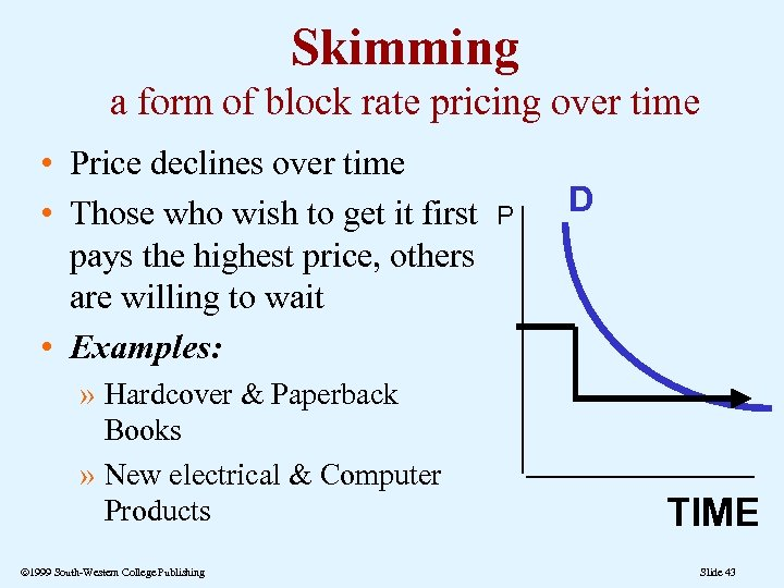 Skimming a form of block rate pricing over time • Price declines over time