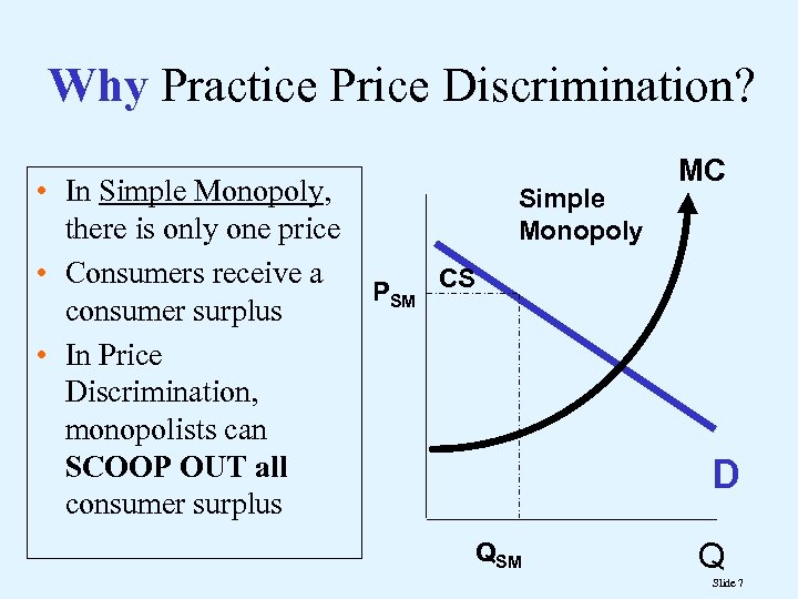 Why Practice Price Discrimination? • In Simple Monopoly, there is only one price •
