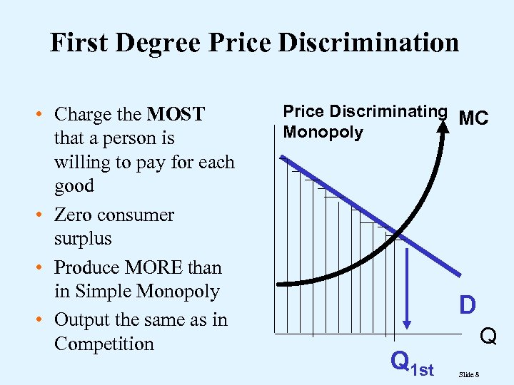 First Degree Price Discrimination • Charge the MOST that a person is willing to
