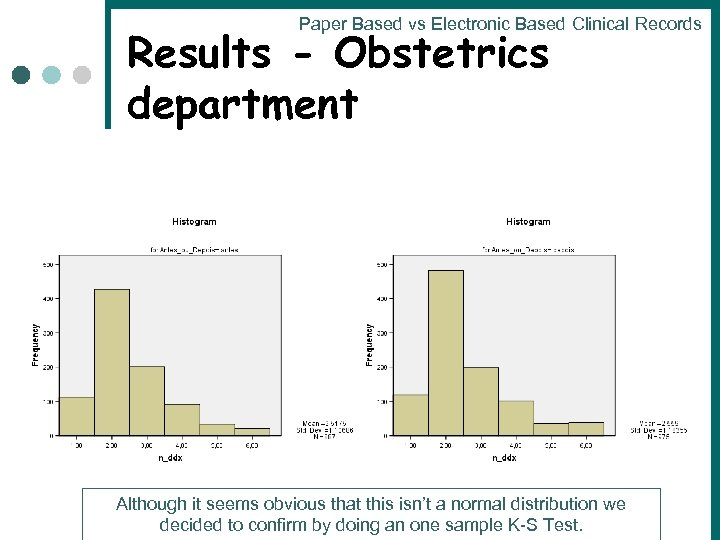 Paper Based vs Electronic Based Clinical Records Results - Obstetrics department Although it seems