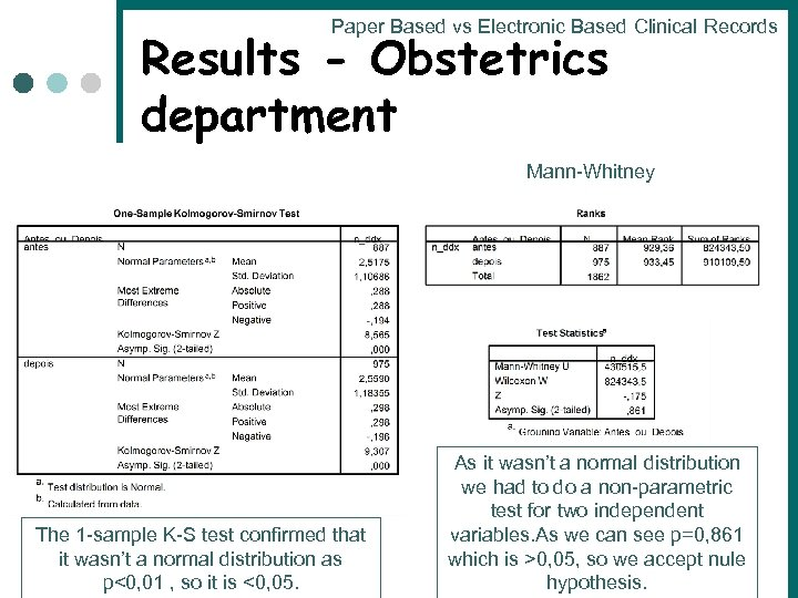 Paper Based vs Electronic Based Clinical Records Results - Obstetrics department Mann-Whitney The 1