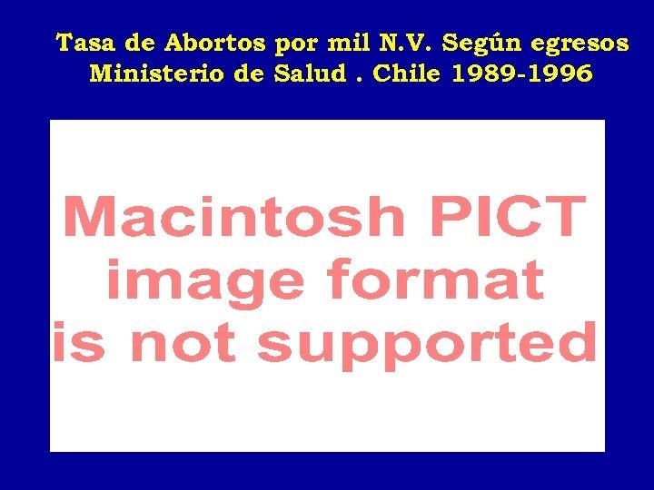 Tasa de Abortos por mil N. V. Según egresos Ministerio de Salud. Chile 1989