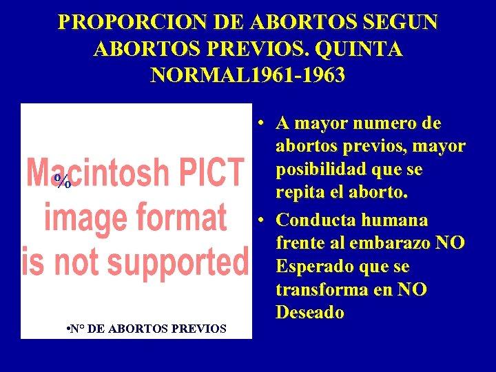 PROPORCION DE ABORTOS SEGUN ABORTOS PREVIOS. QUINTA NORMAL 1961 -1963 % • N° DE