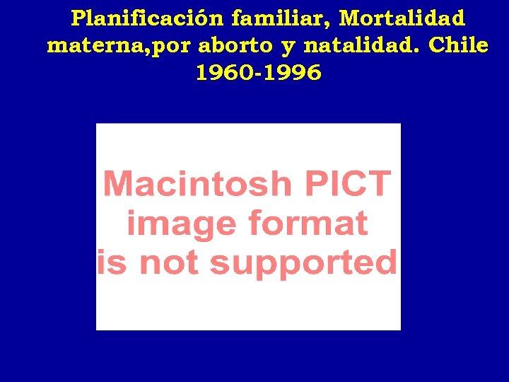 Planificación familiar, Mortalidad materna, por aborto y natalidad. Chile 1960 -1996