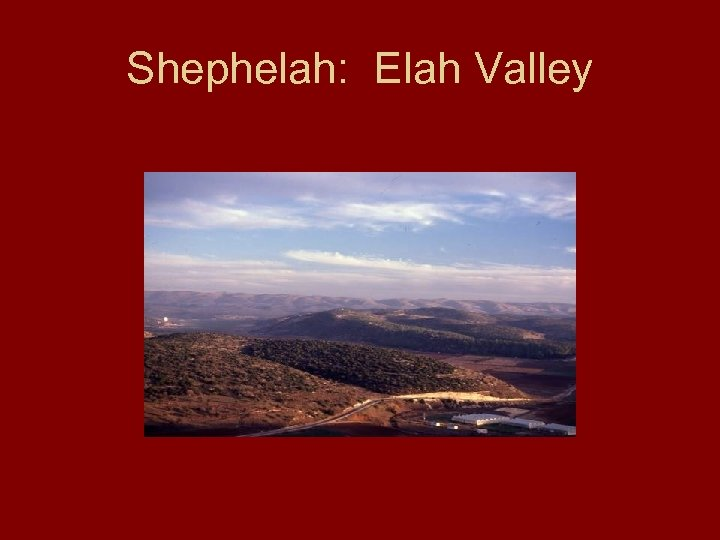Shephelah: Elah Valley