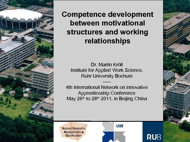 Competence development between motivational structures and working relationships Dr. Martin Kröll Institute for Applied