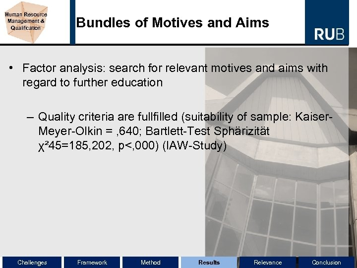 Human Resource Management & Qualification Bundles of Motives and Aims • Factor analysis: search
