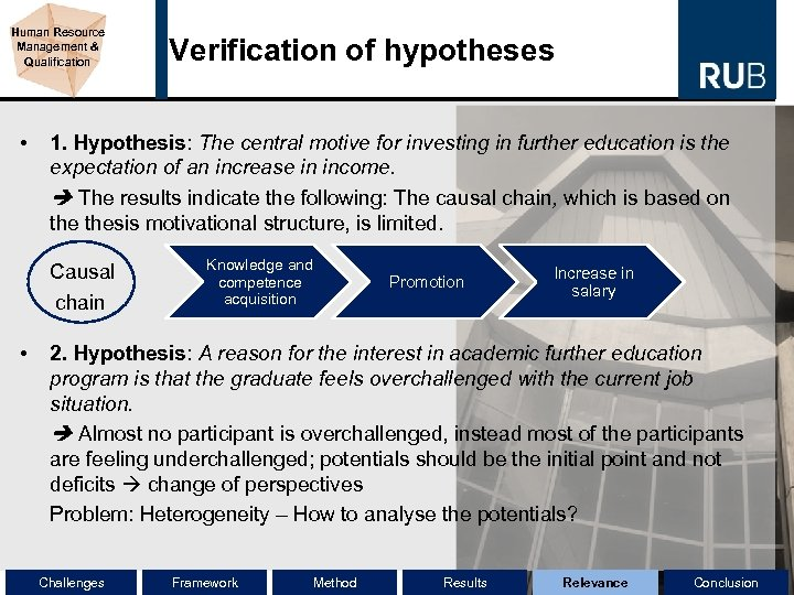 Human Resource Management & Qualification • Verification of hypotheses 1. Hypothesis: The central motive