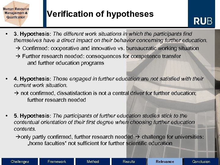 Human Resource Management & Qualification Verification of hypotheses • 3. Hypothesis: The different work