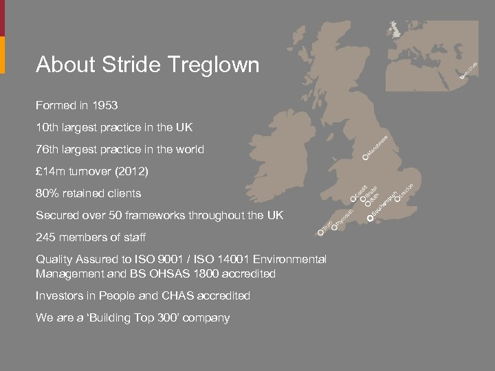 About Stride Treglown Formed in 1953 10 th largest practice in the UK 76