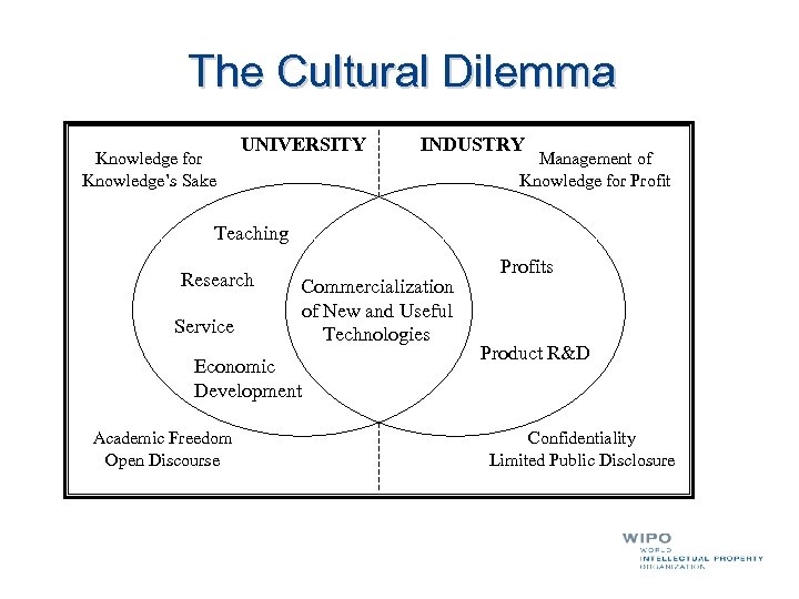 The Cultural Dilemma Knowledge for Knowledge's Sake UNIVERSITY INDUSTRY Management of Knowledge for