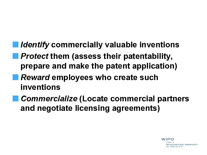 Identify commercially valuable inventions Protect them (assess their patentability, prepare and make the patent