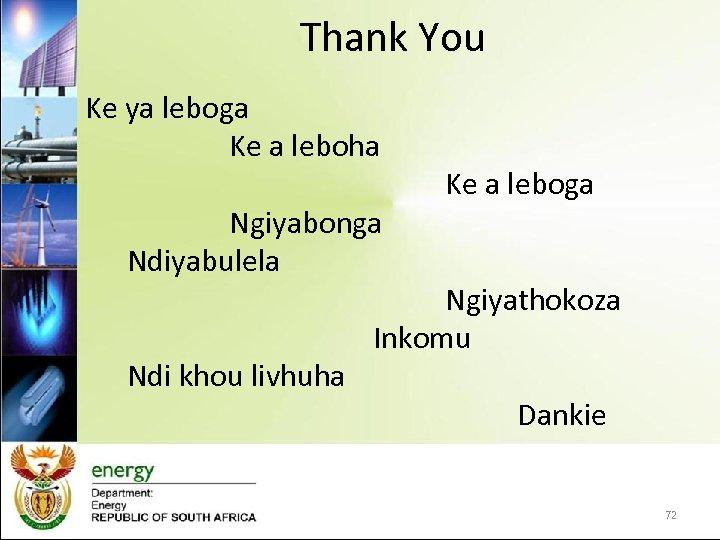 Thank You Ke ya leboga Ke a leboha Ngiyabonga Ndiyabulela Ndi khou livhuha Ke