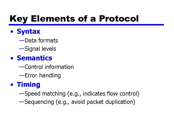 Key Elements of a Protocol • Syntax —Data formats —Signal levels • Semantics —Control