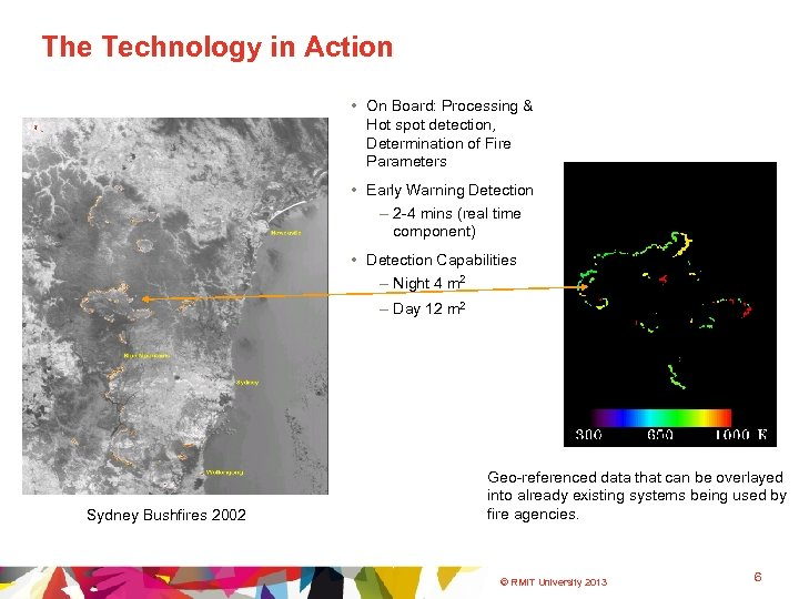 The Technology in Action • On Board: Processing & Hot spot detection, Determination of