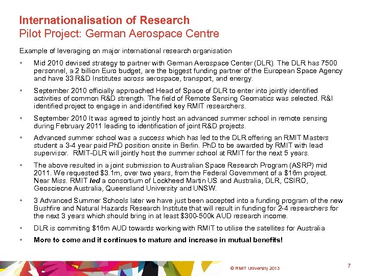 Internationalisation of Research Pilot Project: German Aerospace Centre Example of leveraging on major international