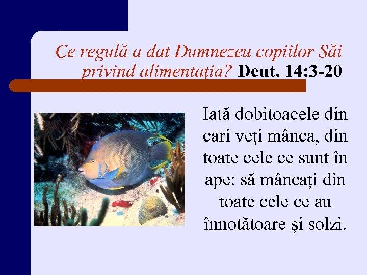 Ce regulă a dat Dumnezeu copiilor Săi privind alimentaţia? Deut. 14: 3 -20 Iată