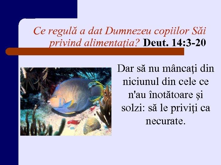 Ce regulă a dat Dumnezeu copiilor Săi privind alimentaţia? Deut. 14: 3 -20 Dar