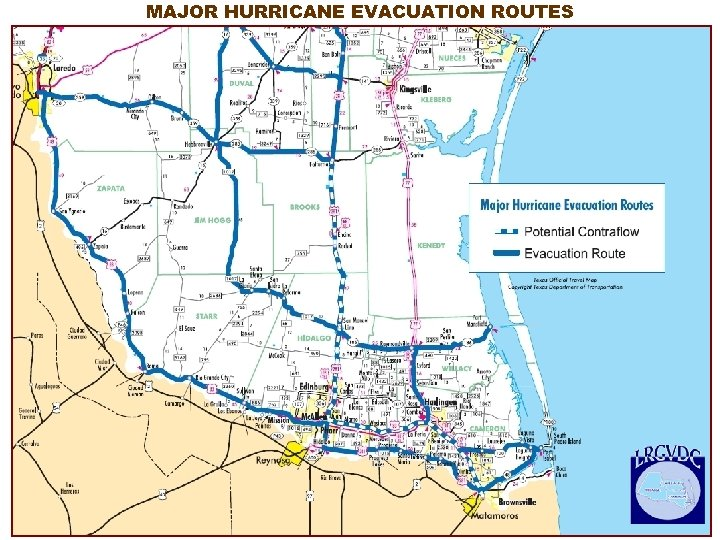 MAJOR HURRICANE EVACUATION ROUTES