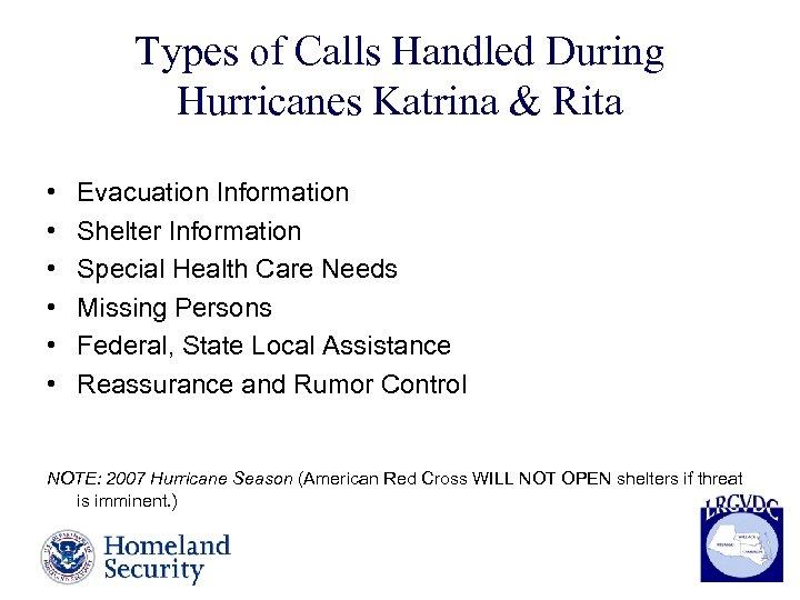 Types of Calls Handled During Hurricanes Katrina & Rita • • • Evacuation Information