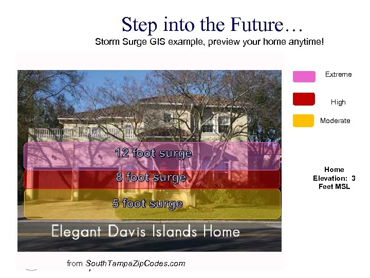 Step into the Future… Storm Surge GIS example, preview your home anytime! Extreme High