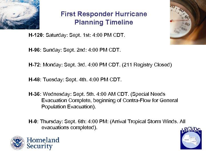 First Responder Hurricane Planning Timeline H-120: Saturday: Sept. 1 st: 4: 00 PM CDT.