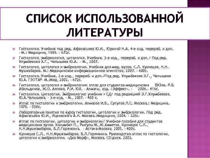 СПИСОК ИСПОЛЬЗОВАННОЙ ЛИТЕРАТУРЫ Гистология. Учебник под ред. Афанасьева Ю. И. , Юриной Н. А.