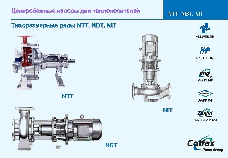 Центробежные насосы для теплоносителей NTT, NBT, NIT Типоразмерные ряды NTT, NBT, NIT NTT NIT