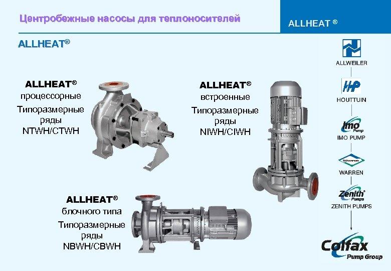 Центробежные насосы для теплоносителей ALLHEAT® процессорные Типоразмерные ряды NTWH/CTWH ALLHEAT® блочного типа Типоразмерные ряды